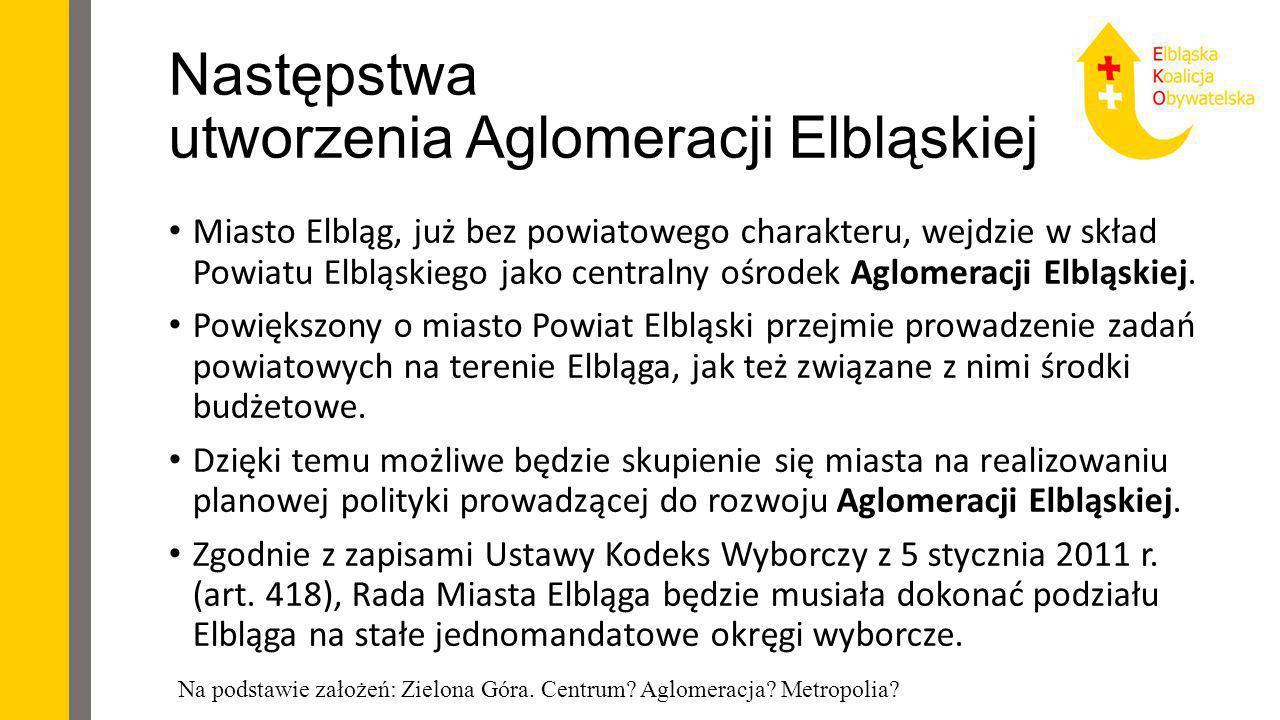 Następstwa utworzenia Aglomeracji Elbląskiej Miasto Elbląg, już bez powiatowego charakteru, wejdzie w skład Powiatu Elbląskiego jako centralny ośrodek