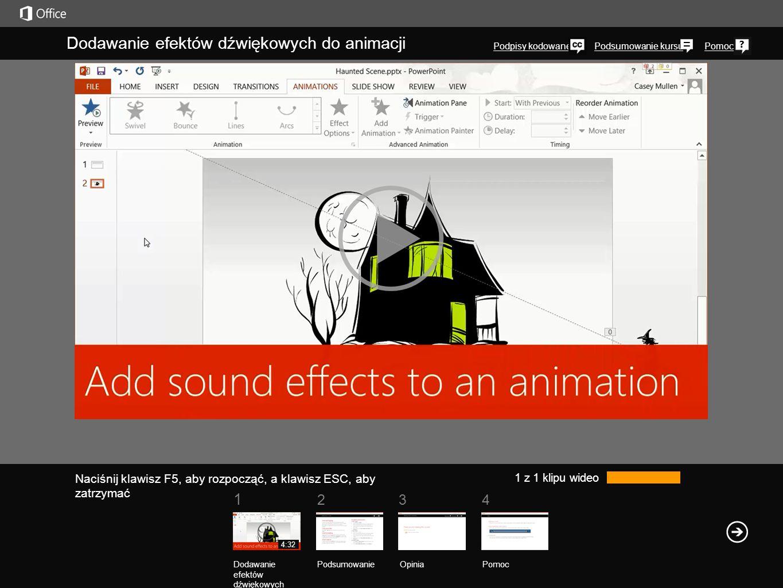 Podsumowanie kursuPomoc 1 234 Dodawanie efektów dźwiękowych do animacji Podpisy kodowane 1 z 1 klipu wideo Dodawanie efektów dźwiękowych PodsumowanieOpinia Pomoc 4:32 Naciśnij klawisz F5, aby rozpocząć, a klawisz ESC, aby zatrzymać Wyobraźmy sobie, że mamy idealne efekty dźwiękowe dla animacji, ale nie do końca wiadomo, jak je dodać.