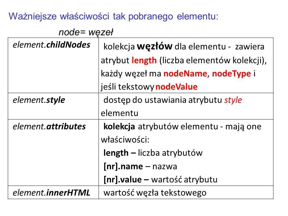 element.childNodes kolekcja węzłów dla elementu - zawiera atrybut length (liczba elementów kolekcji), każdy węzeł ma nodeName, nodeType i jeśli teksto