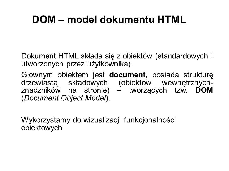 Dokument HTML składa się z obiektów (standardowych i utworzonych przez użytkownika). Głównym obiektem jest document, posiada strukturę drzewiastą skła