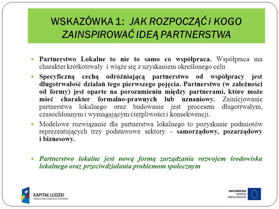 DOBRE RADY O partnerstwo trzeba dbać i ciągle je wzmacniać, aby mogło realizować wyznaczone sobie cele.