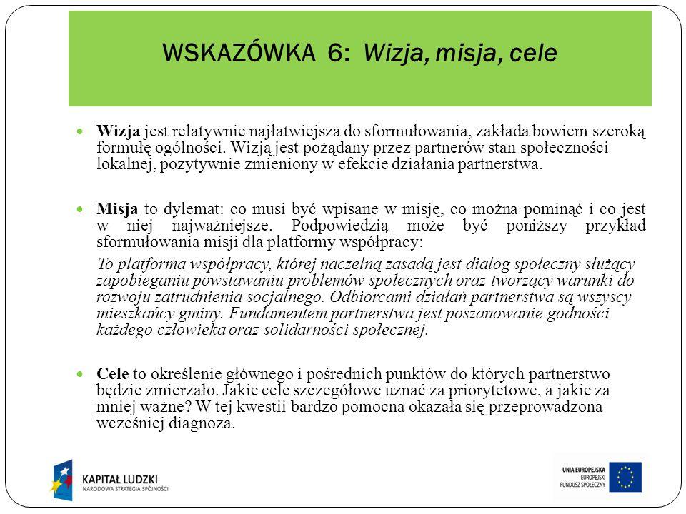 WSKAZÓWKA 7: WYBÓR FORMY DZIAŁANIA PARTNERSTWA W polskim prawodawstwie brak odrębnej formuły prawnej dla partnerstwa lokalnego.