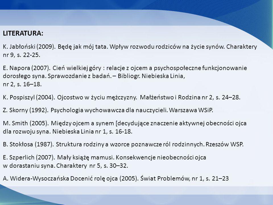 LITERATURA: K. Jabłoński (2009). Będę jak mój tata. Wpływ rozwodu rodziców na życie synów. Charaktery nr 9, s. 22-25. E. Napora (2007). Cień wielkiej
