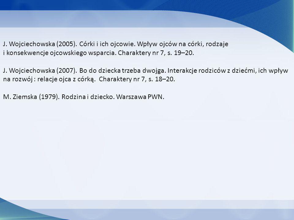 J. Wojciechowska (2005). Córki i ich ojcowie. Wpływ ojców na córki, rodzaje i konsekwencje ojcowskiego wsparcia. Charaktery nr 7, s. 19–20. J. Wojciec
