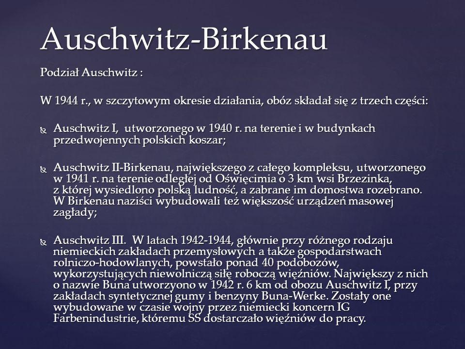 Auschwitz-Birkenau Podział Auschwitz : W 1944 r., w szczytowym okresie działania, obóz składał się z trzech części:  Auschwitz I, utworzonego w 1940