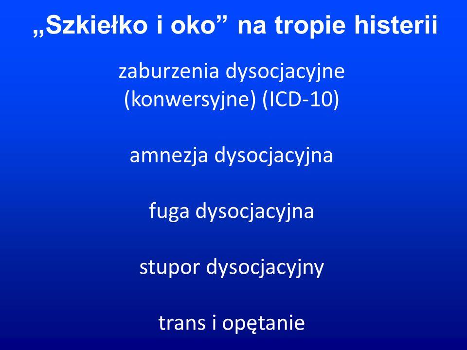 """zaburzenia dysocjacyjne (konwersyjne) (ICD-10) amnezja dysocjacyjna fuga dysocjacyjna stupor dysocjacyjny trans i opętanie """"Szkiełko i oko na tropie histerii"""