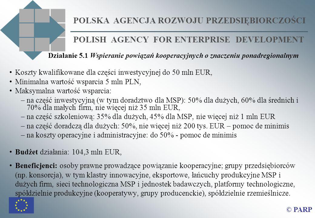 Koszty kwalifikowane dla części inwestycyjnej do 50 mln EUR, Minimalna wartość wsparcia 5 mln PLN, Maksymalna wartość wsparcia: –na część inwestycyjną