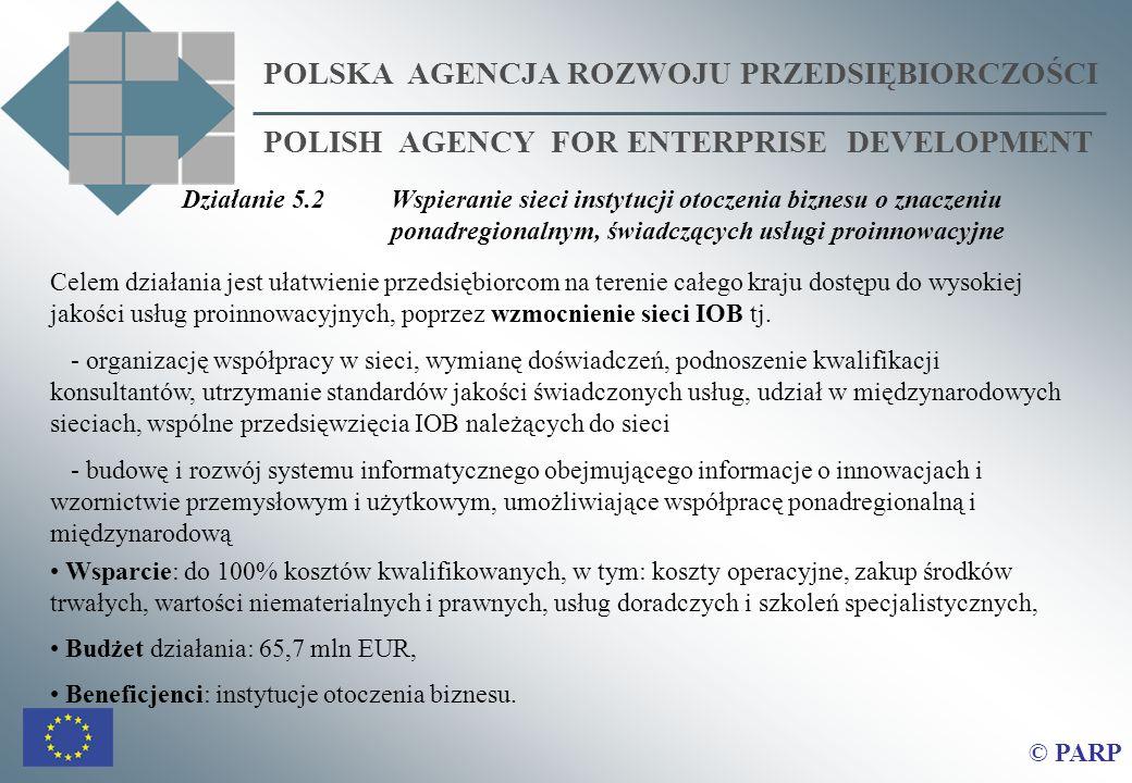 POLSKA AGENCJA ROZWOJU PRZEDSIĘBIORCZOŚCI POLISH AGENCY FOR ENTERPRISE DEVELOPMENT © PARP Celem działania jest ułatwienie przedsiębiorcom na terenie całego kraju dostępu do wysokiej jakości usług proinnowacyjnych, poprzez wzmocnienie sieci IOB tj.