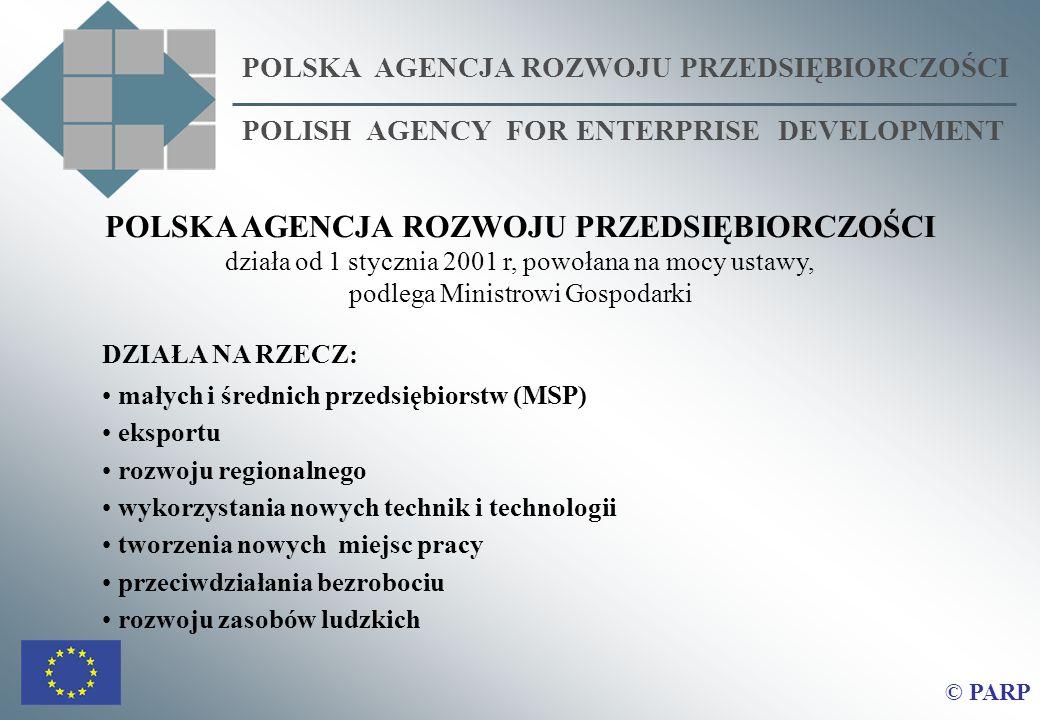 POLSKA AGENCJA ROZWOJU PRZEDSIĘBIORCZOŚCI działa od 1 stycznia 2001 r, powołana na mocy ustawy, podlega Ministrowi Gospodarki DZIAŁA NA RZECZ: małych