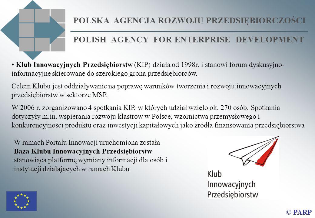 POLSKA AGENCJA ROZWOJU PRZEDSIĘBIORCZOŚCI POLISH AGENCY FOR ENTERPRISE DEVELOPMENT © PARP Klub Innowacyjnych Przedsiębiorstw (KIP) działa od 1998r. i