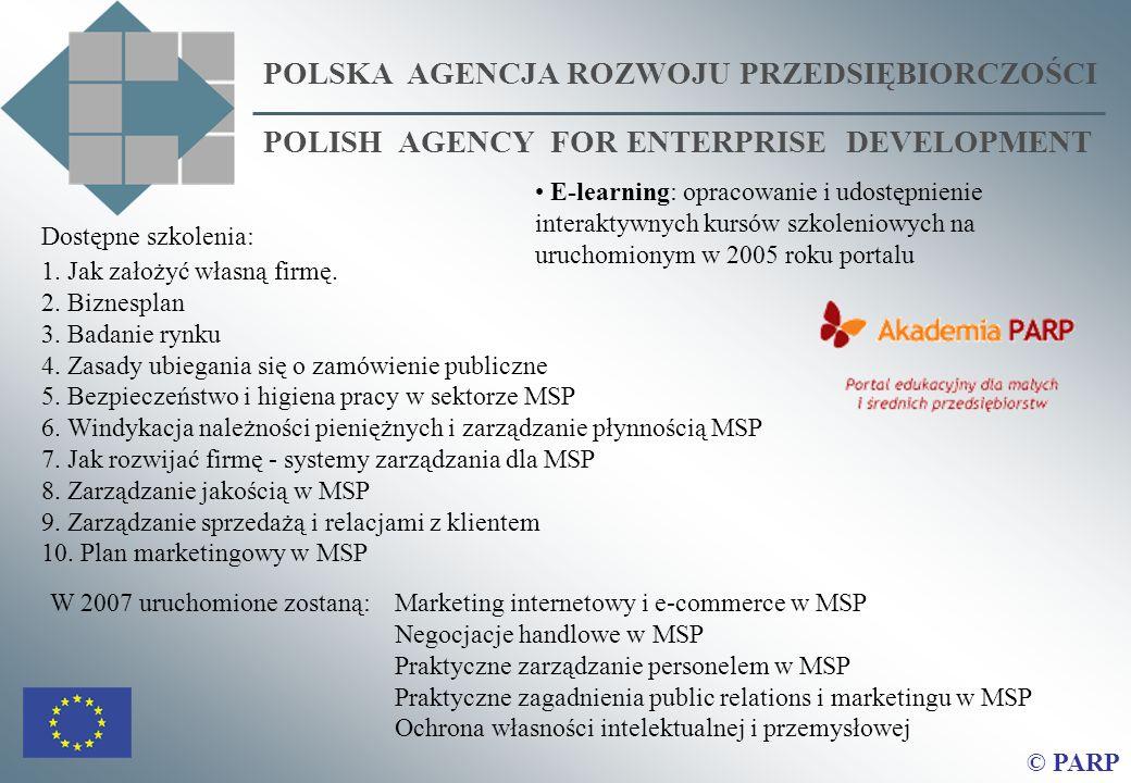 POLSKA AGENCJA ROZWOJU PRZEDSIĘBIORCZOŚCI POLISH AGENCY FOR ENTERPRISE DEVELOPMENT © PARP Dostępne szkolenia: 1. Jak założyć własną firmę. 2. Biznespl