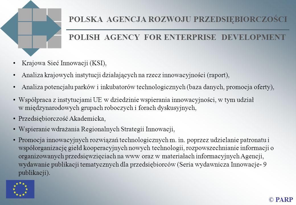 POLSKA AGENCJA ROZWOJU PRZEDSIĘBIORCZOŚCI POLISH AGENCY FOR ENTERPRISE DEVELOPMENT © PARP Krajowa Sieć Innowacji (KSI), Analiza krajowych instytucji działających na rzecz innowacyjności (raport), Analiza potencjału parków i inkubatorów technologicznych (baza danych, promocja oferty), Współpraca z instytucjami UE w dziedzinie wspierania innowacyjności, w tym udział w międzynarodowych grupach roboczych i forach dyskusyjnych, Przedsiębiorczość Akademicka, Wspieranie wdrażania Regionalnych Strategii Innowacji, Promocja innowacyjnych rozwiązań technologicznych m.