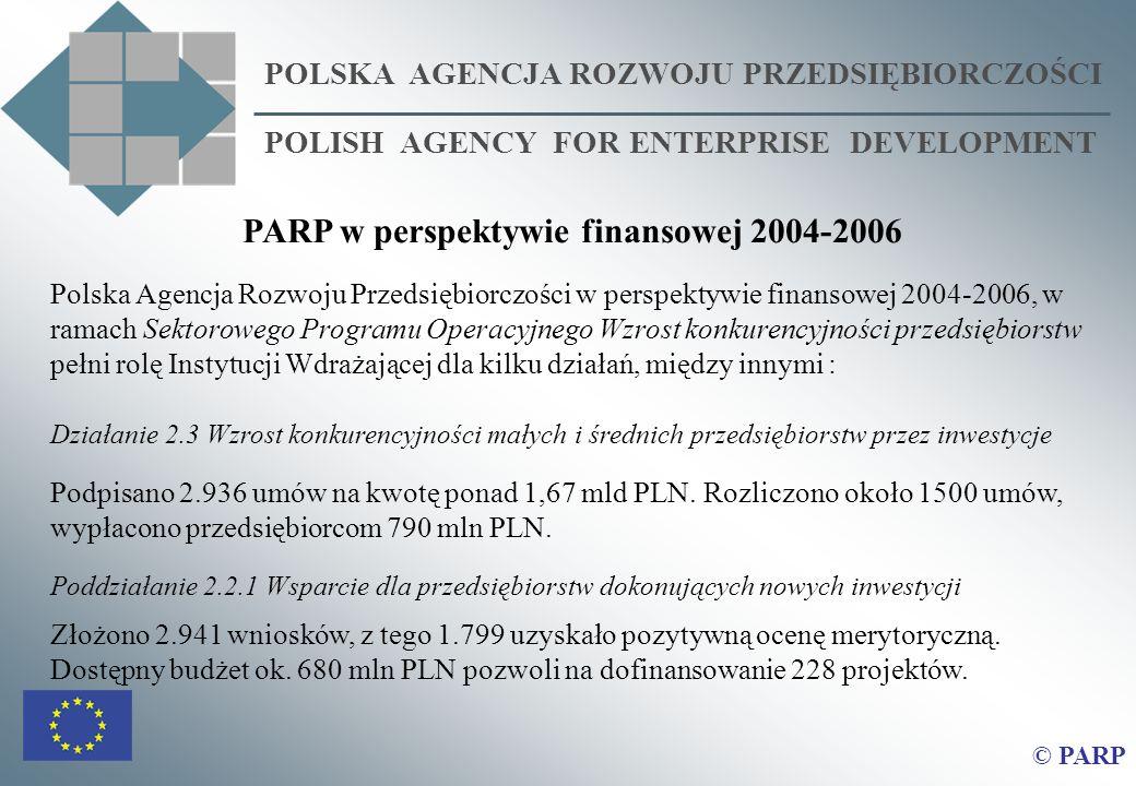 POLSKA AGENCJA ROZWOJU PRZEDSIĘBIORCZOŚCI POLISH AGENCY FOR ENTERPRISE DEVELOPMENT © PARP PARP w perspektywie finansowej 2004-2006 Polska Agencja Rozw