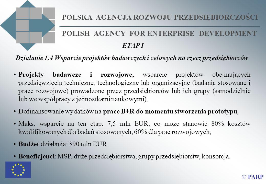 POLSKA AGENCJA ROZWOJU PRZEDSIĘBIORCZOŚCI POLISH AGENCY FOR ENTERPRISE DEVELOPMENT © PARP ETAP I Działanie 1.4 Wsparcie projektów badawczych i celowyc