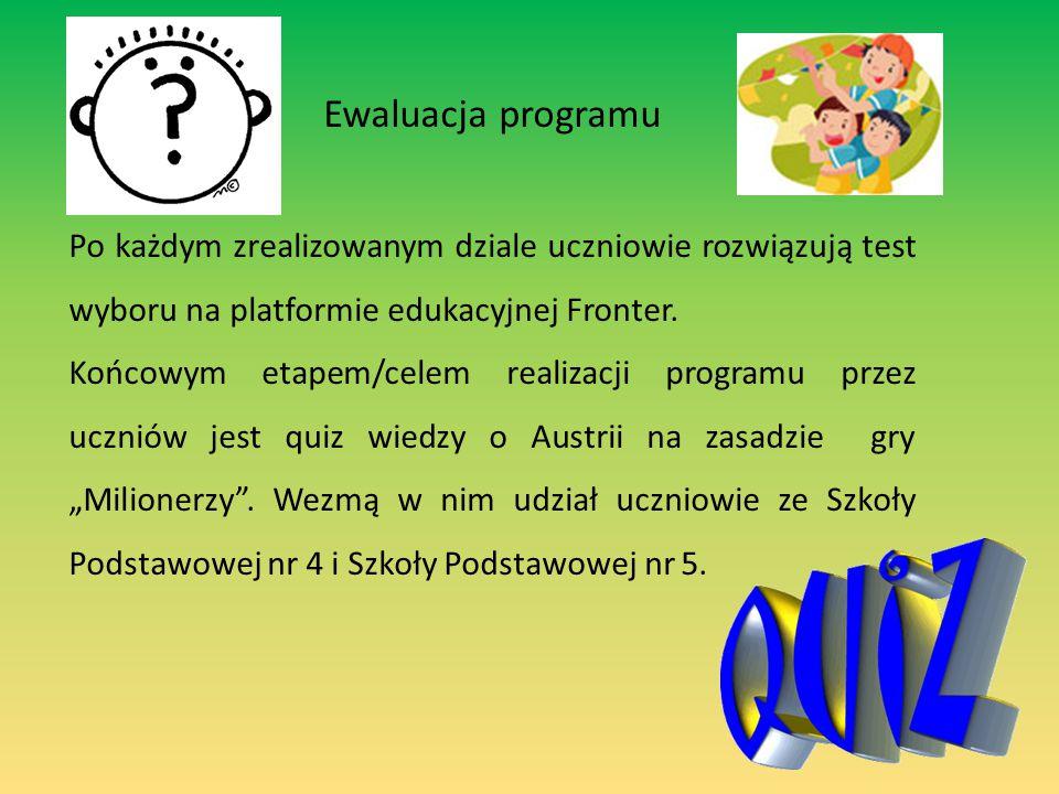Ewaluacja programu Po każdym zrealizowanym dziale uczniowie rozwiązują test wyboru na platformie edukacyjnej Fronter.