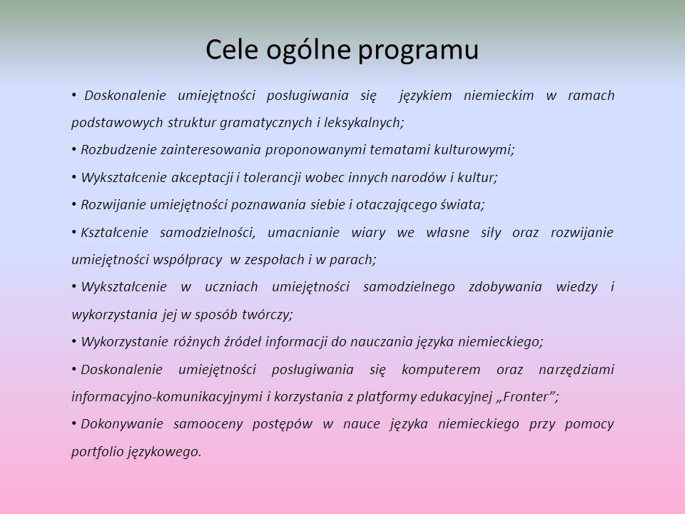 """Cele ogólne programu Doskonalenie umiejętności posługiwania się językiem niemieckim w ramach podstawowych struktur gramatycznych i leksykalnych; Rozbudzenie zainteresowania proponowanymi tematami kulturowymi; Wykształcenie akceptacji i tolerancji wobec innych narodów i kultur; Rozwijanie umiejętności poznawania siebie i otaczającego świata; Kształcenie samodzielności, umacnianie wiary we własne siły oraz rozwijanie umiejętności współpracy w zespołach i w parach; Wykształcenie w uczniach umiejętności samodzielnego zdobywania wiedzy i wykorzystania jej w sposób twórczy; Wykorzystanie różnych źródeł informacji do nauczania języka niemieckiego; Doskonalenie umiejętności posługiwania się komputerem oraz narzędziami informacyjno-komunikacyjnymi i korzystania z platformy edukacyjnej """"Fronter ; Dokonywanie samooceny postępów w nauce języka niemieckiego przy pomocy portfolio językowego."""
