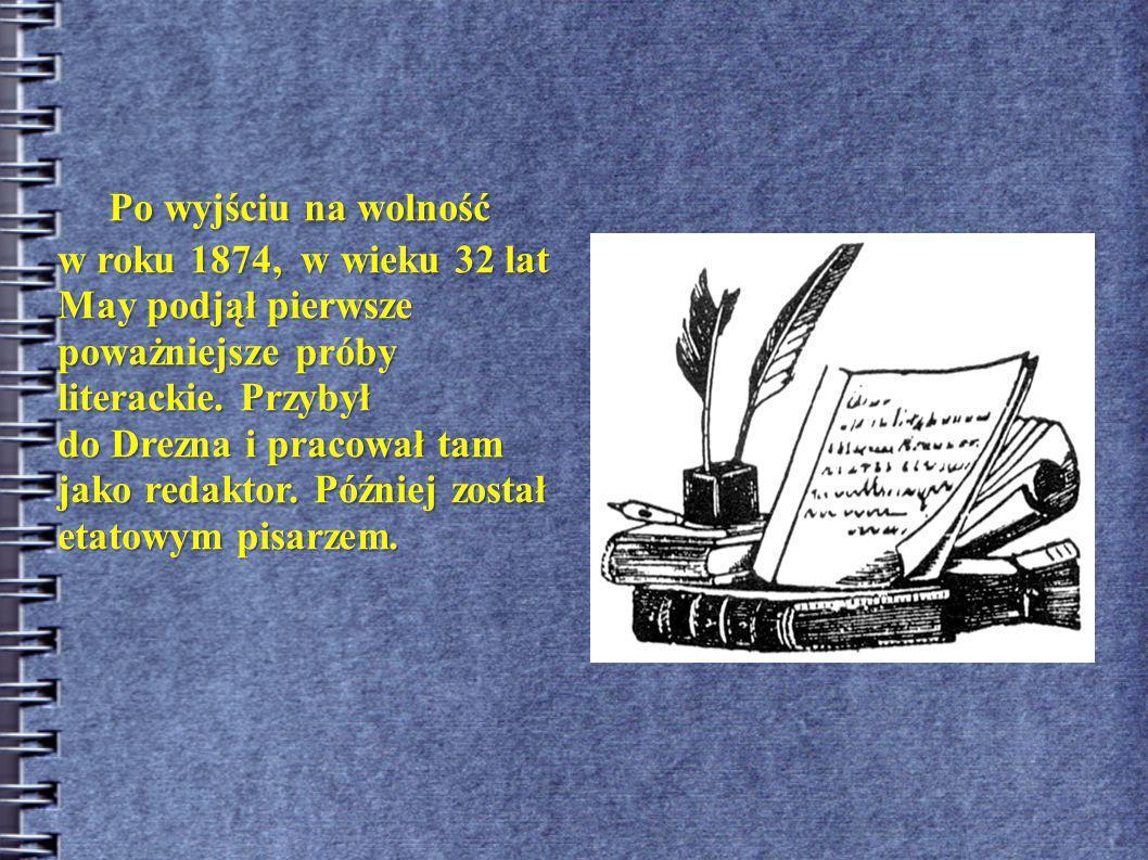 """Bibliografia Cykl powieści, których akcja toczy się na: a) Dzikim Zachodzie, do najbardziej znanych należą """"Winnetou , """"Old Surehand , """"Skarb w Srebrnym Jeziorze ; b) Bliskim Wschodzie: """"Cykl arabski , """"W kraju Mahdiego , """"W kraju srebrnego lwa , c) Ameryce Południowej: """"Testament Inków , oraz w: a) Chinach: """"Błękitno-purpurowy Matuzalem , b) Afryce: """"Karawana niewolników ."""