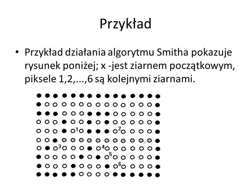 Przykład Przykład działania algorytmu Smitha pokazuje rysunek poniżej; x -jest ziarnem początkowym, piksele 1,2,...,6 są kolejnymi ziarnami.