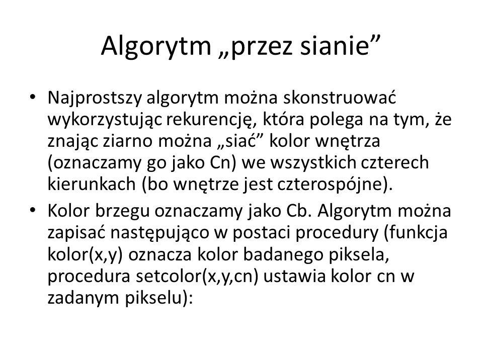 """Algorytm """"przez sianie Najprostszy algorytm można skonstruować wykorzystując rekurencję, która polega na tym, że znając ziarno można """"siać kolor wnętrza (oznaczamy go jako Cn) we wszystkich czterech kierunkach (bo wnętrze jest czterospójne)."""