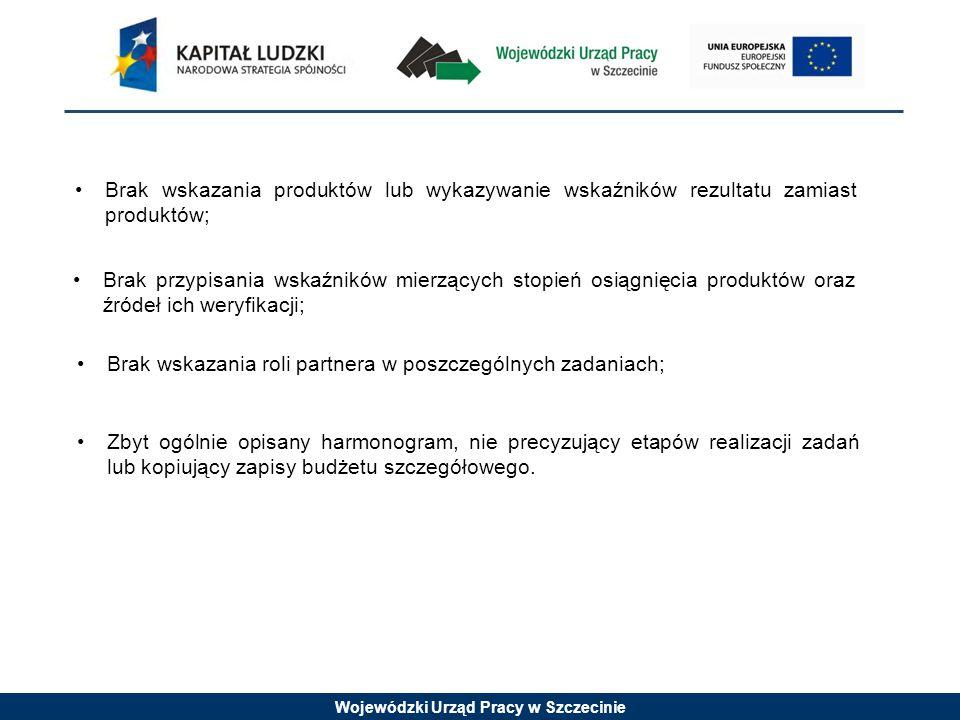 Wojewódzki Urząd Pracy w Szczecinie Brak wskazania produktów lub wykazywanie wskaźników rezultatu zamiast produktów; Brak przypisania wskaźników mierzących stopień osiągnięcia produktów oraz źródeł ich weryfikacji; Brak wskazania roli partnera w poszczególnych zadaniach; Zbyt ogólnie opisany harmonogram, nie precyzujący etapów realizacji zadań lub kopiujący zapisy budżetu szczegółowego.