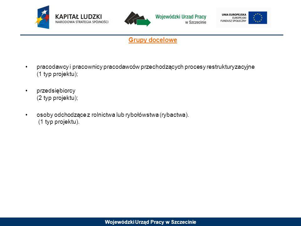 Wojewódzki Urząd Pracy w Szczecinie Grupy docelowe pracodawcy i pracownicy pracodawców przechodzących procesy restrukturyzacyjne (1 typ projektu); przedsiębiorcy (2 typ projektu); osoby odchodzące z rolnictwa lub rybołówstwa (rybactwa).