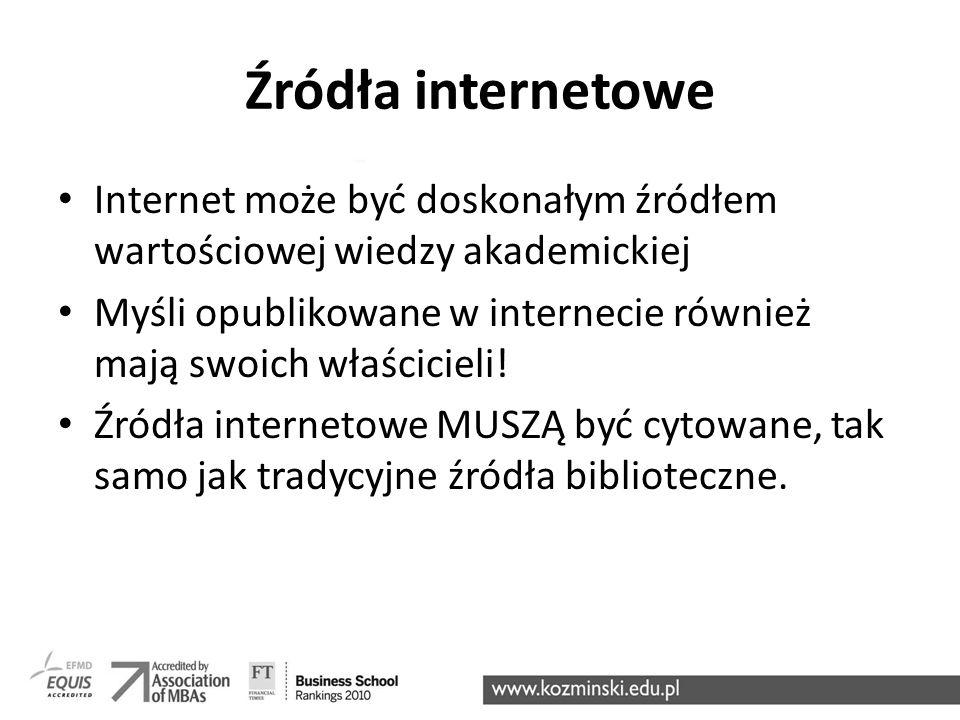 Źródła internetowe Internet może być doskonałym źródłem wartościowej wiedzy akademickiej Myśli opublikowane w internecie również mają swoich właścicie