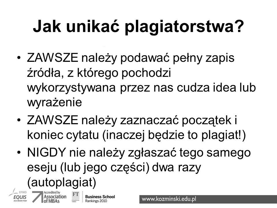 Jak unikać plagiatorstwa (c.d.).