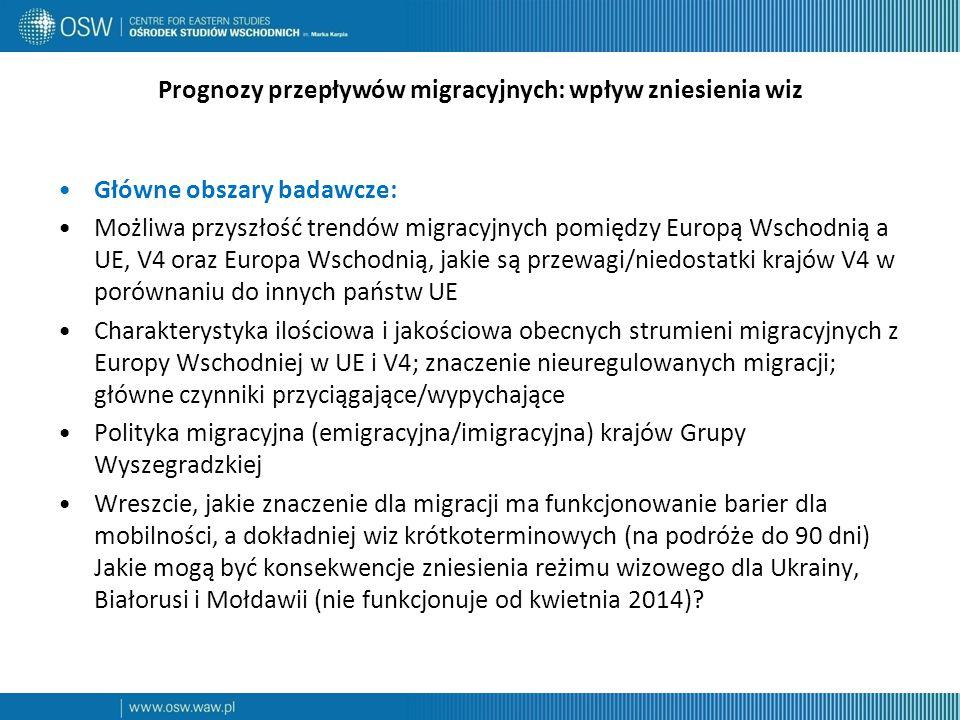 Prognozy przepływów migracyjnych: wpływ zniesienia wiz Główne obszary badawcze: Możliwa przyszłość trendów migracyjnych pomiędzy Europą Wschodnią a UE, V4 oraz Europa Wschodnią, jakie są przewagi/niedostatki krajów V4 w porównaniu do innych państw UE Charakterystyka ilościowa i jakościowa obecnych strumieni migracyjnych z Europy Wschodniej w UE i V4; znaczenie nieuregulowanych migracji; główne czynniki przyciągające/wypychające Polityka migracyjna (emigracyjna/imigracyjna) krajów Grupy Wyszegradzkiej Wreszcie, jakie znaczenie dla migracji ma funkcjonowanie barier dla mobilności, a dokładniej wiz krótkoterminowych (na podróże do 90 dni) Jakie mogą być konsekwencje zniesienia reżimu wizowego dla Ukrainy, Białorusi i Mołdawii (nie funkcjonuje od kwietnia 2014)