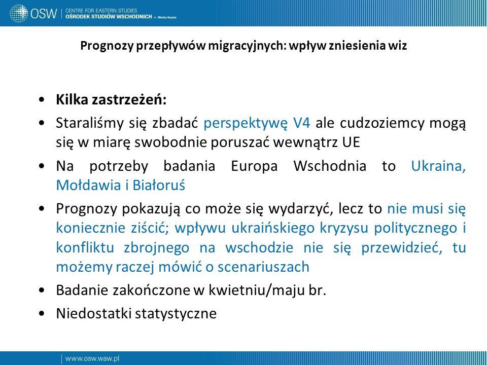 Prognozy przepływów migracyjnych: wpływ zniesienia wiz Kilka zastrzeżeń: Staraliśmy się zbadać perspektywę V4 ale cudzoziemcy mogą się w miarę swobodnie poruszać wewnątrz UE Na potrzeby badania Europa Wschodnia to Ukraina, Mołdawia i Białoruś Prognozy pokazują co może się wydarzyć, lecz to nie musi się koniecznie ziścić; wpływu ukraińskiego kryzysu politycznego i konfliktu zbrojnego na wschodzie nie się przewidzieć, tu możemy raczej mówić o scenariuszach Badanie zakończone w kwietniu/maju br.