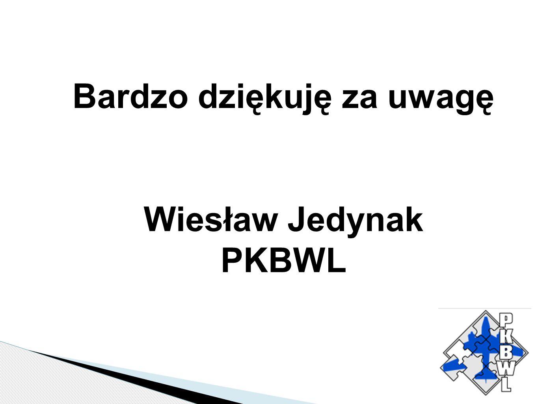 Bardzo dziękuję za uwagę Wiesław Jedynak PKBWL