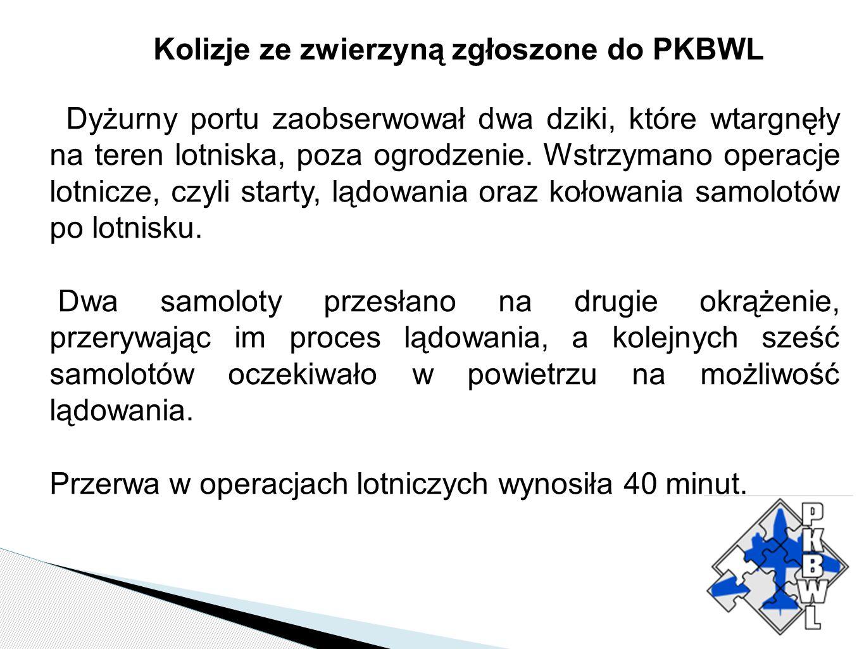 Kolizje ze zwierzyną zgłoszone do PKBWL Dyżurny portu zaobserwował dwa dziki, które wtargnęły na teren lotniska, poza ogrodzenie. Wstrzymano operacje