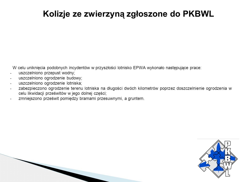 Kolizje ze zwierzyną zgłoszone do PKBWL W celu uniknięcia podobnych incydentów w przyszłości lotnisko EPWA wykonało następujące prace: - uszczelniono