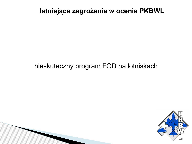 Istniejące zagrożenia w ocenie PKBWL nieskuteczny program FOD na lotniskach