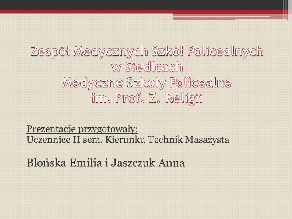 Prezentacje przygotowały: Uczennice II sem. Kierunku Technik Masażysta Błońska Emilia i Jaszczuk Anna