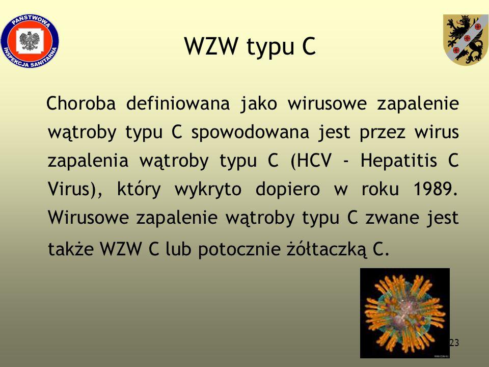 23 WZW typu C Choroba definiowana jako wirusowe zapalenie wątroby typu C spowodowana jest przez wirus zapalenia wątroby typu C (HCV - Hepatitis C Viru
