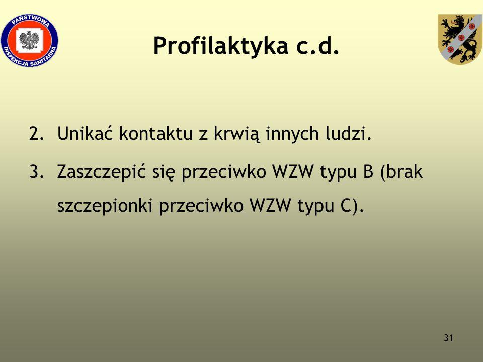 31 Profilaktyka c.d. 2.Unikać kontaktu z krwią innych ludzi. 3. Zaszczepić się przeciwko WZW typu B (brak szczepionki przeciwko WZW typu C).