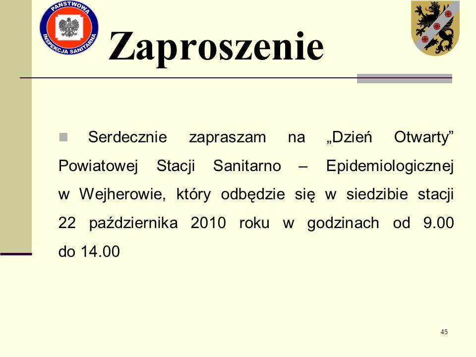"""45 Zaproszenie Serdecznie zapraszam na """"Dzień Otwarty"""" Powiatowej Stacji Sanitarno – Epidemiologicznej w Wejherowie, który odbędzie się w siedzibie st"""
