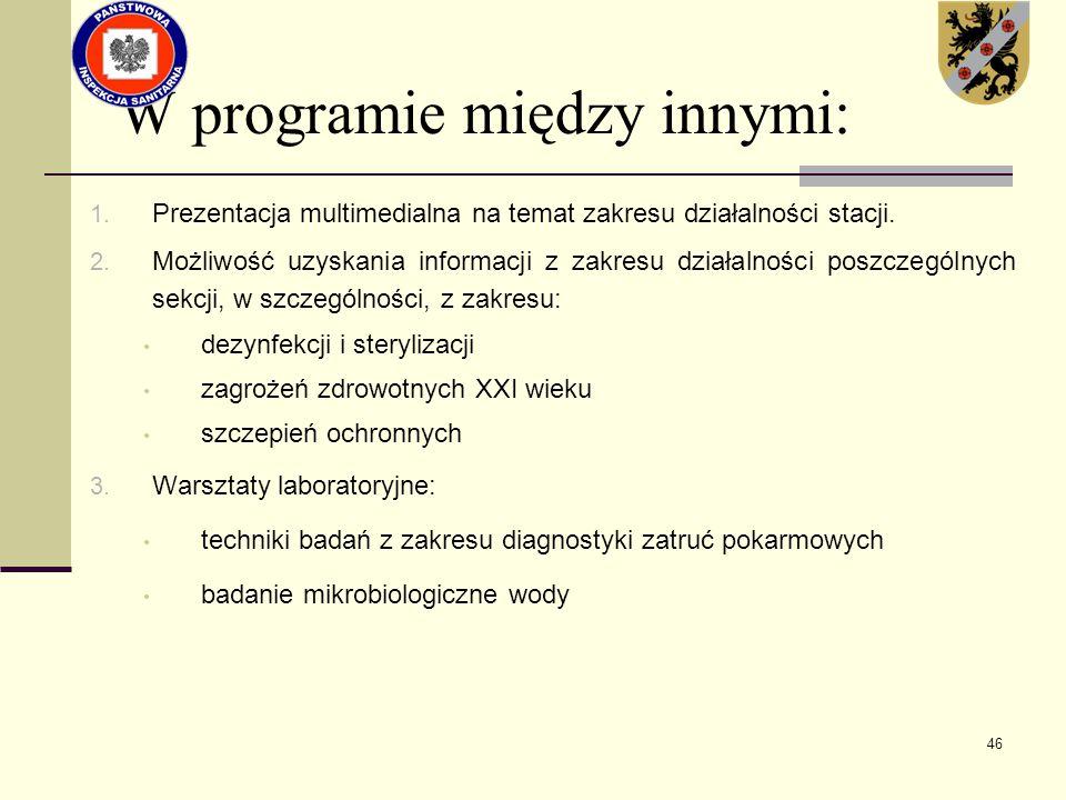 46 W programie między innymi: 1. Prezentacja multimedialna na temat zakresu działalności stacji. 2. Możliwość uzyskania informacji z zakresu działalno