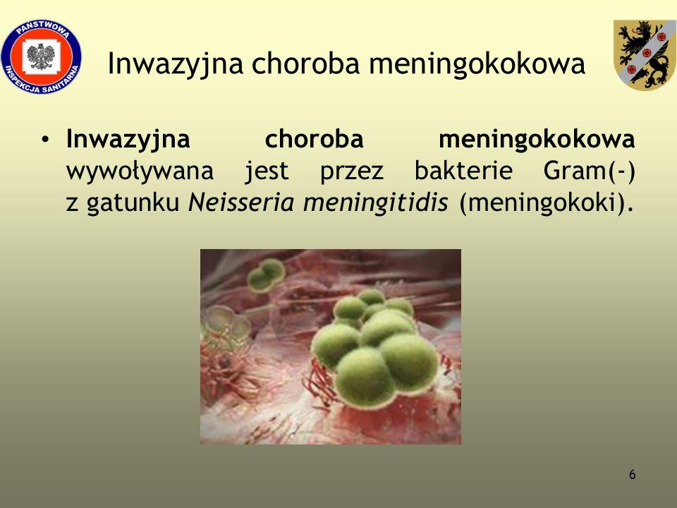 6 Inwazyjna choroba meningokokowa Inwazyjna choroba meningokokowa wywoływana jest przez bakterie Gram(-) z gatunku Neisseria meningitidis (meningokoki
