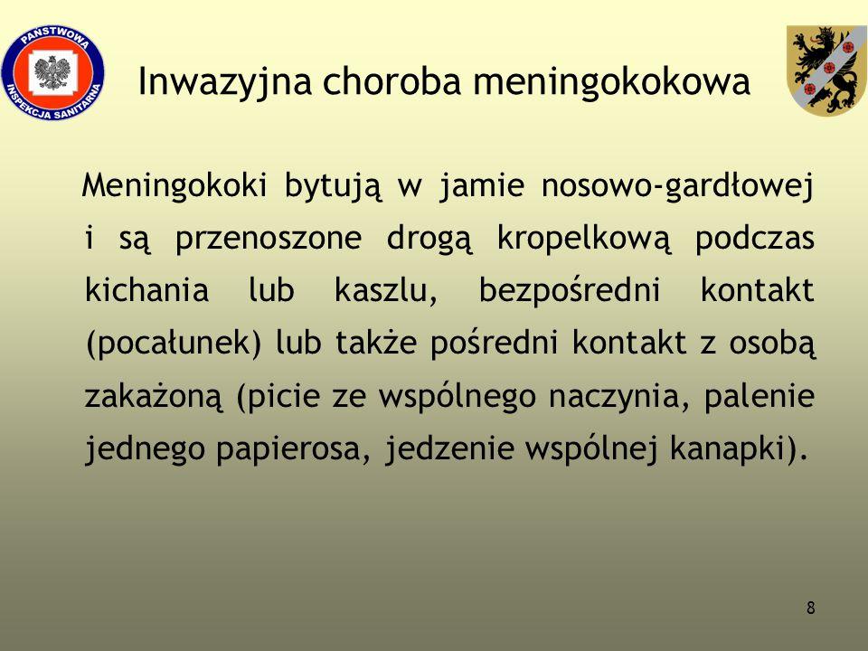 8 Inwazyjna choroba meningokokowa Meningokoki bytują w jamie nosowo-gardłowej i są przenoszone drogą kropelkową podczas kichania lub kaszlu, bezpośred