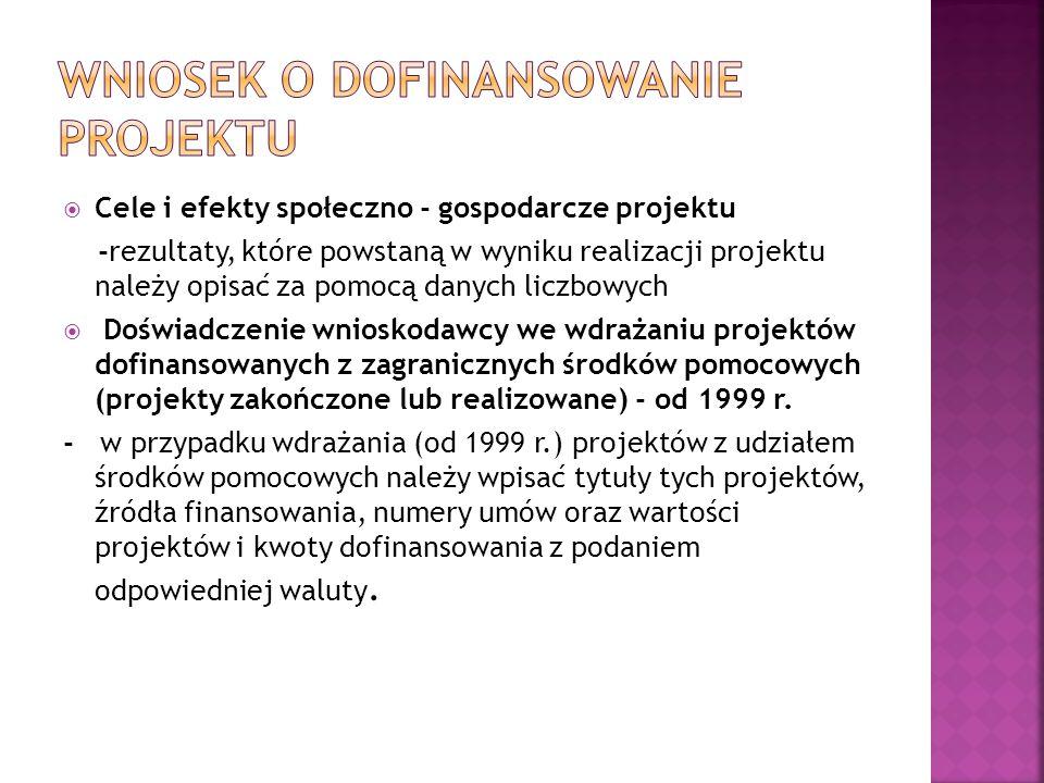  Cele i efekty społeczno - gospodarcze projektu -rezultaty, które powstaną w wyniku realizacji projektu należy opisać za pomocą danych liczbowych  Doświadczenie wnioskodawcy we wdrażaniu projektów dofinansowanych z zagranicznych środków pomocowych (projekty zakończone lub realizowane) - od 1999 r.