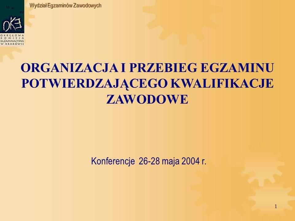 Wydział Egzaminów Zawodowych 1 ORGANIZACJA I PRZEBIEG EGZAMINU POTWIERDZAJĄCEGO KWALIFIKACJE ZAWODOWE Konferencje 26-28 maja 2004 r.