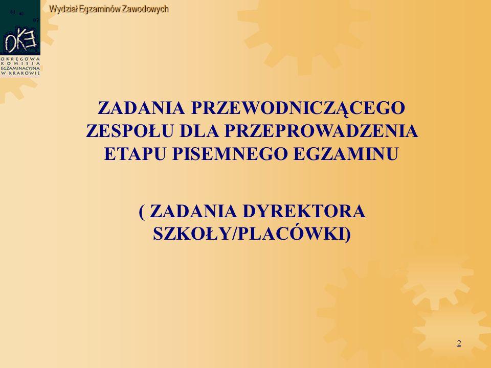 """Wydział Egzaminów Zawodowych 13 Dyrektor szkoły przekazuje materiały egzaminacyjne kurierowi firmy """"Pocztex w dniu egzaminu, po tel."""