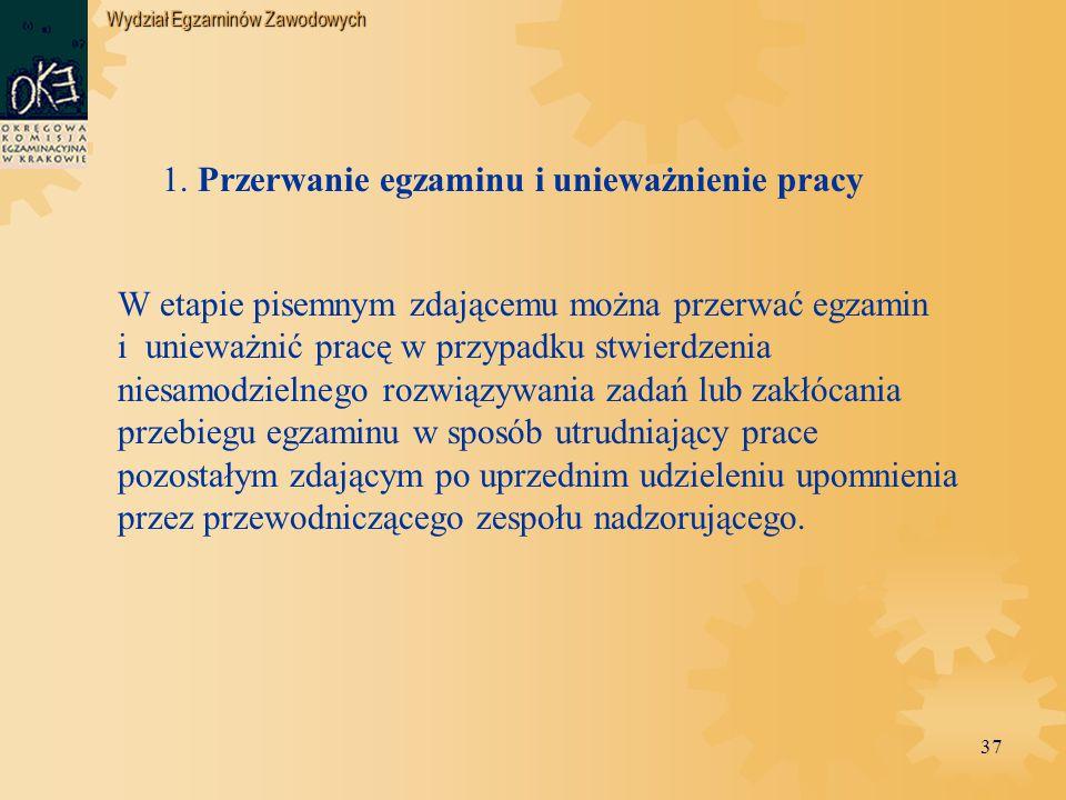 Wydział Egzaminów Zawodowych 37 1.