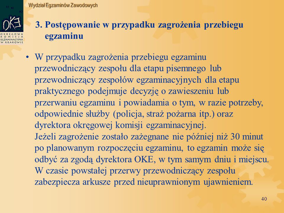 Wydział Egzaminów Zawodowych 40 3.