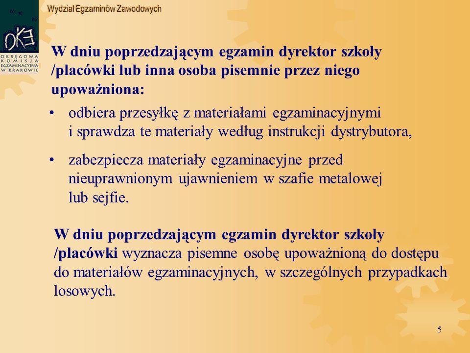 Wydział Egzaminów Zawodowych 36 PROCEDURY POSTĘPOWANIA W SYTUACJACH SZCZEGÓLNYCH
