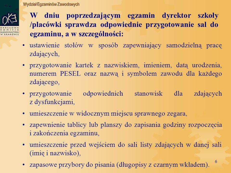 Wydział Egzaminów Zawodowych 27 PROCEDURA LOSOWANIA (w przypadku, gdy w ośrodku egzaminacyjnym są więcej niż 3 stanowiska) 1.
