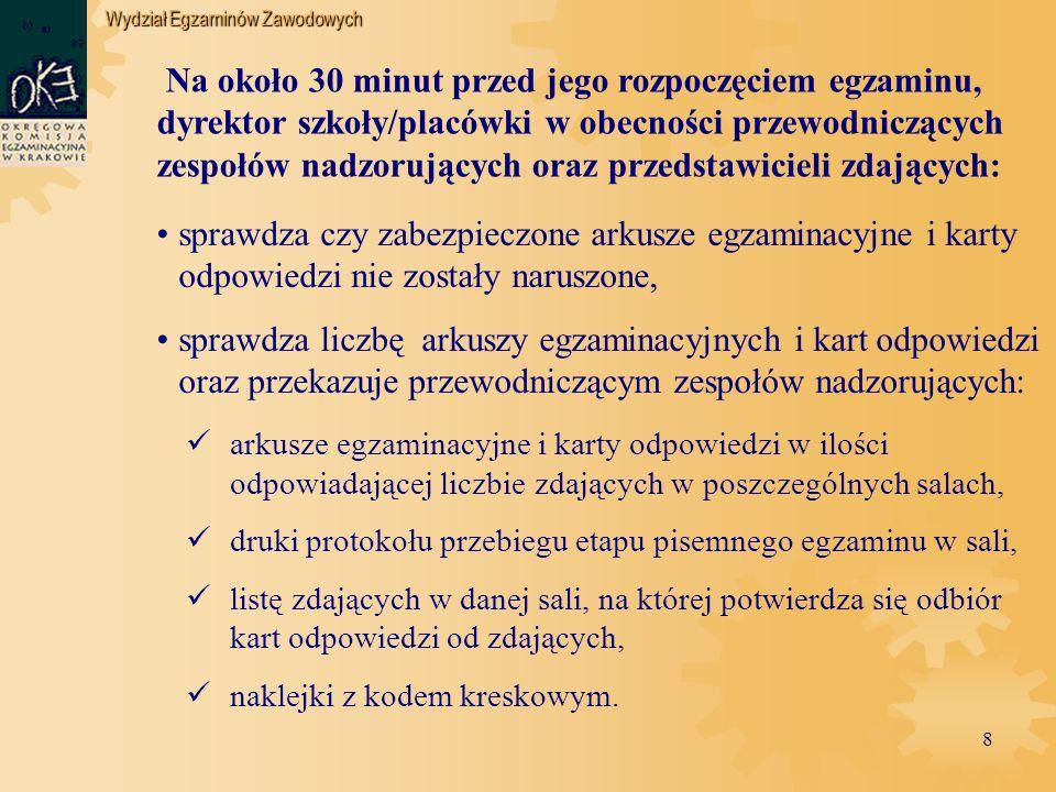 Wydział Egzaminów Zawodowych 19 Dyrektor ośrodka egzaminacyjnego ustala, który egzaminatorzy będą przewodniczącymi, a którzy członkami zespołu w poszczególnych dniach egzaminu.