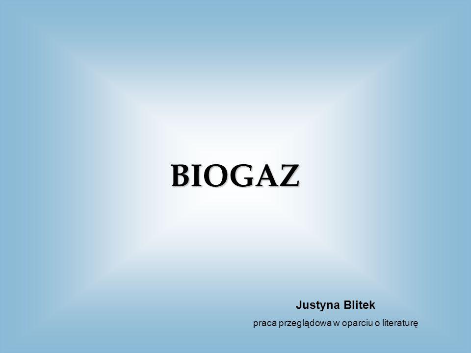 BIOGAZ POWSTAWANIE WYKORZYSTANIE BIOGAZOWANIE BIOGAZ WSTĘP ZAGROŻENIA LITERATURA ZALETYWADY