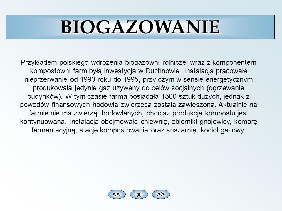 <<x>>BIOGAZOWANIE Przykładem polskiego wdrożenia biogazowni rolniczej wraz z komponentem kompostowni farm byłą inwestycja w Duchnowie. Instalacja prac